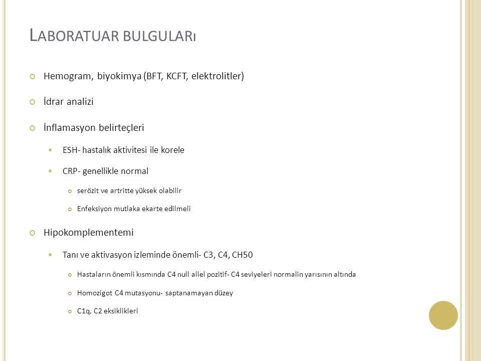 Laboratuar bulguları Hemogram, biyokimya (BFT, KCFT, elektrolitler)