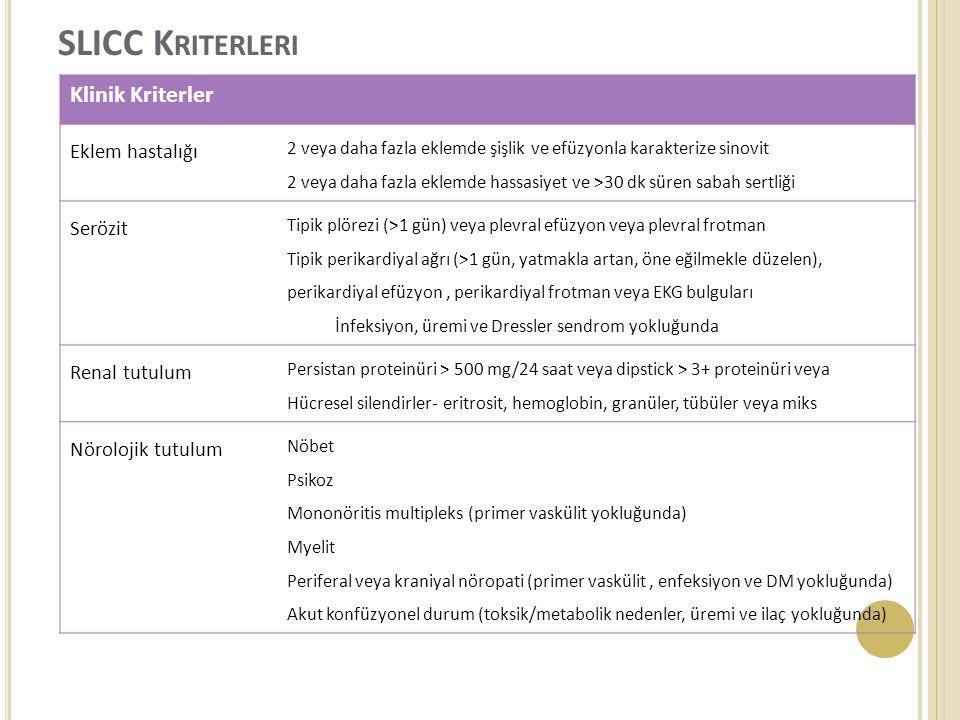 SLICC Kriterleri Klinik Kriterler Eklem hastalığı Serözit