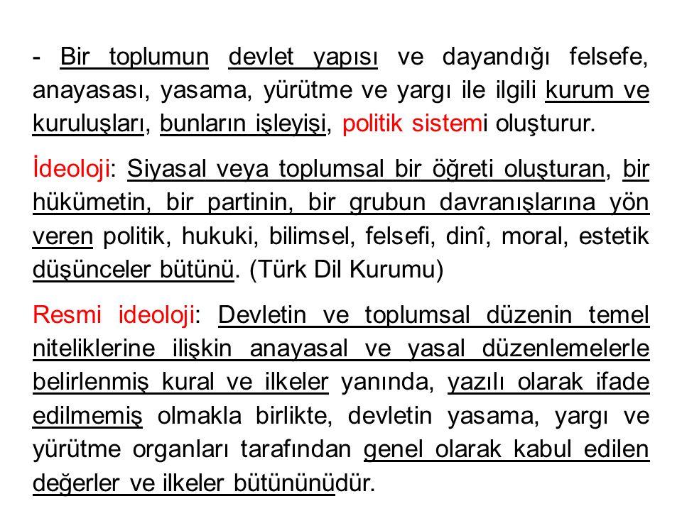 - Bir toplumun devlet yapısı ve dayandığı felsefe, anayasası, yasama, yürütme ve yargı ile ilgili kurum ve kuruluşları, bunların işleyişi, politik sistemi oluşturur.