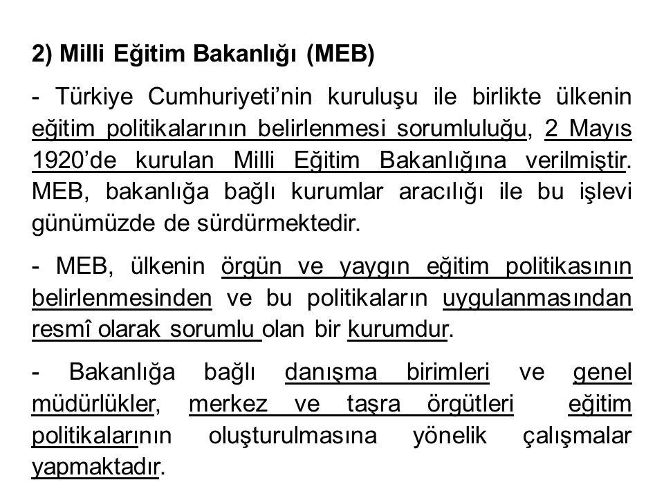 2) Milli Eğitim Bakanlığı (MEB)