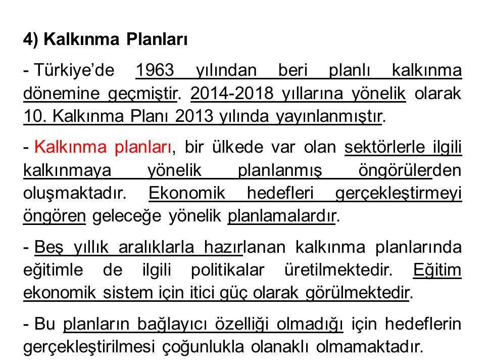 4) Kalkınma Planları