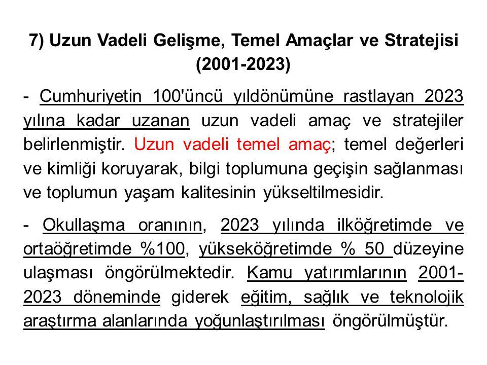 7) Uzun Vadeli Gelişme, Temel Amaçlar ve Stratejisi (2001-2023)