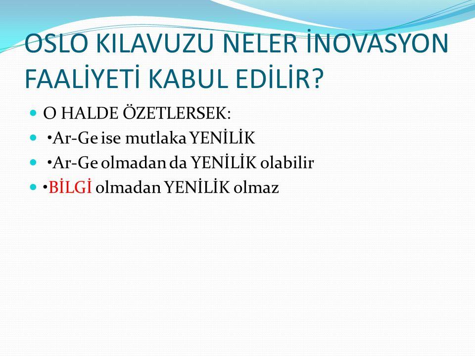 OSLO KILAVUZU NELER İNOVASYON FAALİYETİ KABUL EDİLİR