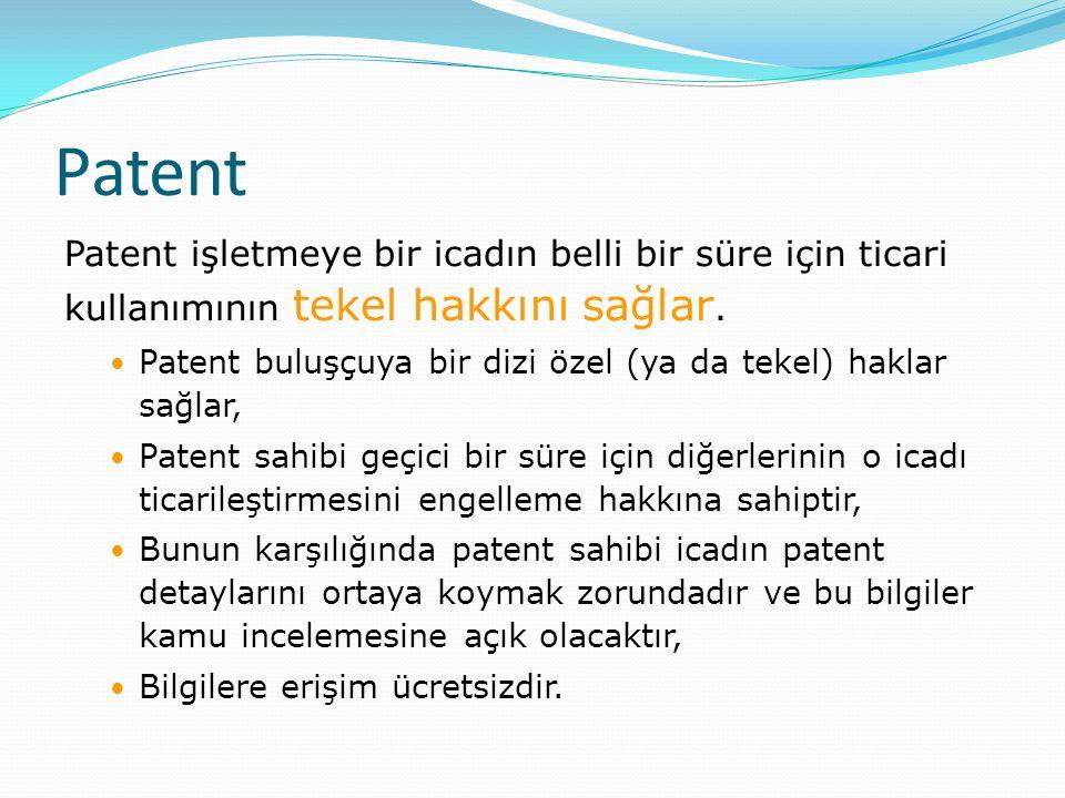 Patent Patent işletmeye bir icadın belli bir süre için ticari kullanımının tekel hakkını sağlar.