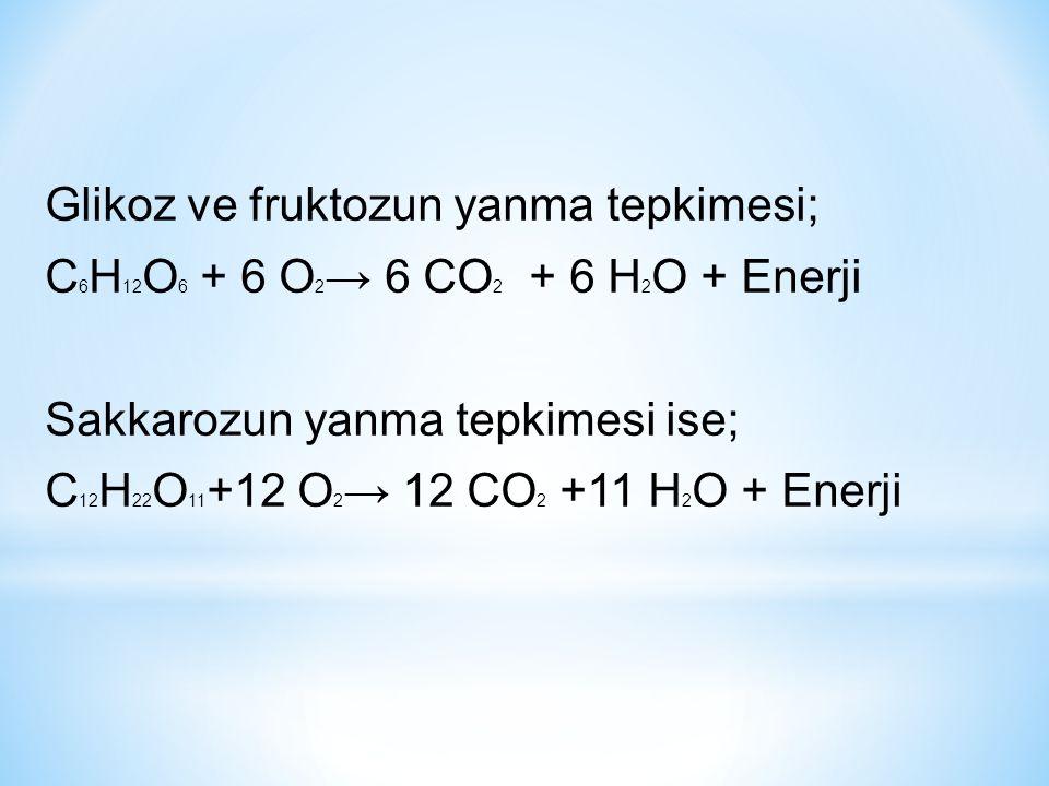 Glikoz ve fruktozun yanma tepkimesi; C6H12O6 + 6 O2→ 6 CO2 + 6 H2O + Enerji Sakkarozun yanma tepkimesi ise; C12H22O11+12 O2→ 12 CO2 +11 H2O + Enerji
