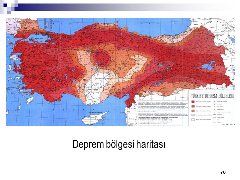 Deprem bölgesi haritası