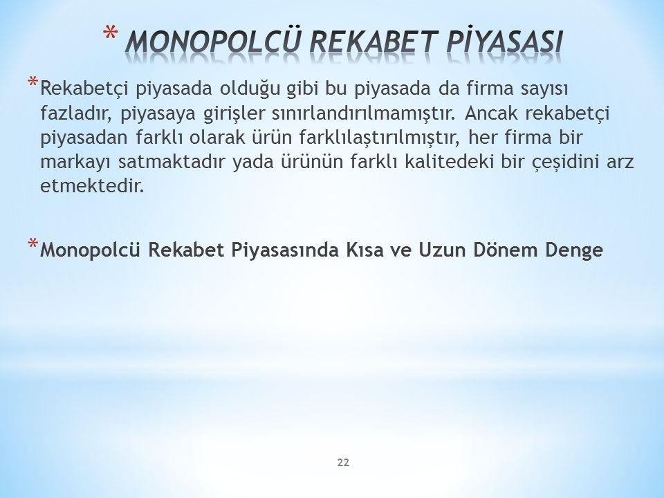 MONOPOLCÜ REKABET PİYASASI