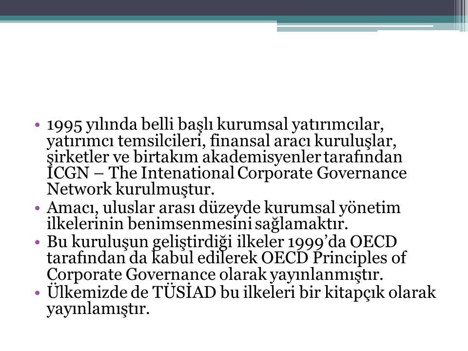 1995 yılında belli başlı kurumsal yatırımcılar, yatırımcı temsilcileri, finansal aracı kuruluşlar, şirketler ve birtakım akademisyenler tarafından ICGN – The Intenational Corporate Governance Network kurulmuştur.