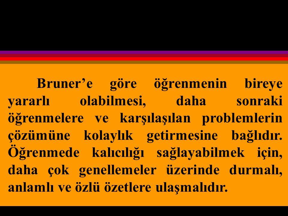 Bruner'e göre öğrenmenin bireye yararlı olabilmesi, daha sonraki öğrenmelere ve karşılaşılan problemlerin çözümüne kolaylık getirmesine bağlıdır.