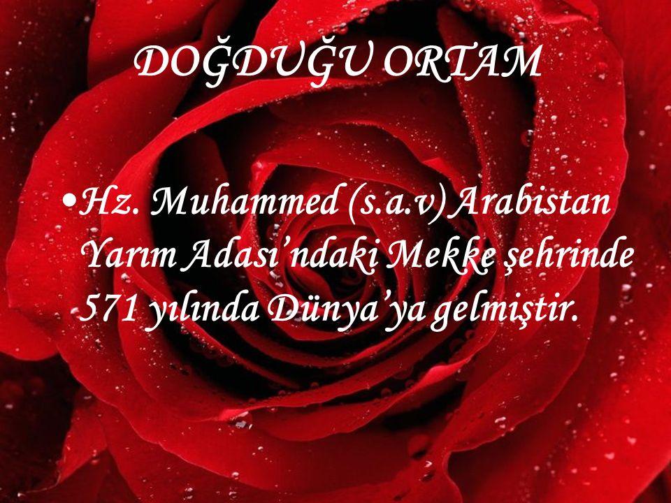 DOĞDUĞU ORTAM Hz. Muhammed (s.a.v) Arabistan Yarım Adası'ndaki Mekke şehrinde 571 yılında Dünya'ya gelmiştir.