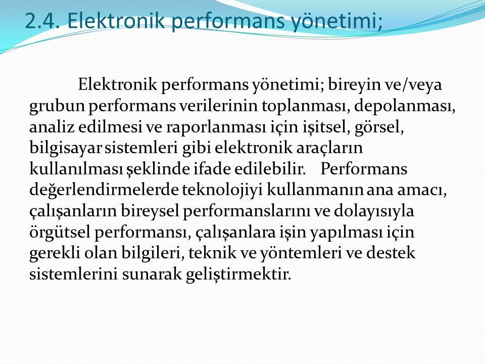 2.4. Elektronik performans yönetimi;