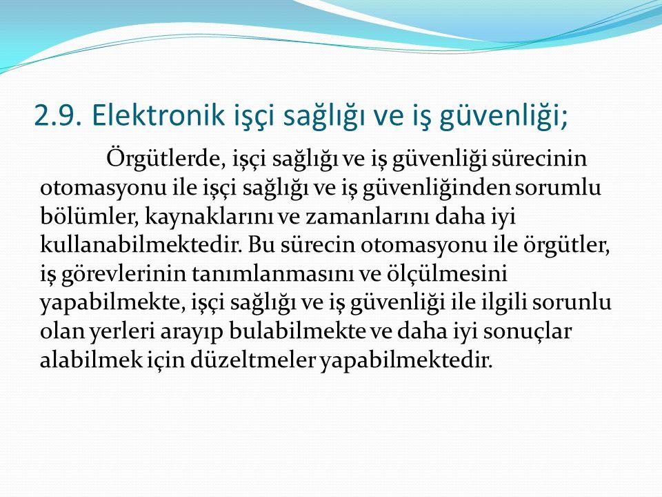 2.9. Elektronik işçi sağlığı ve iş güvenliği;