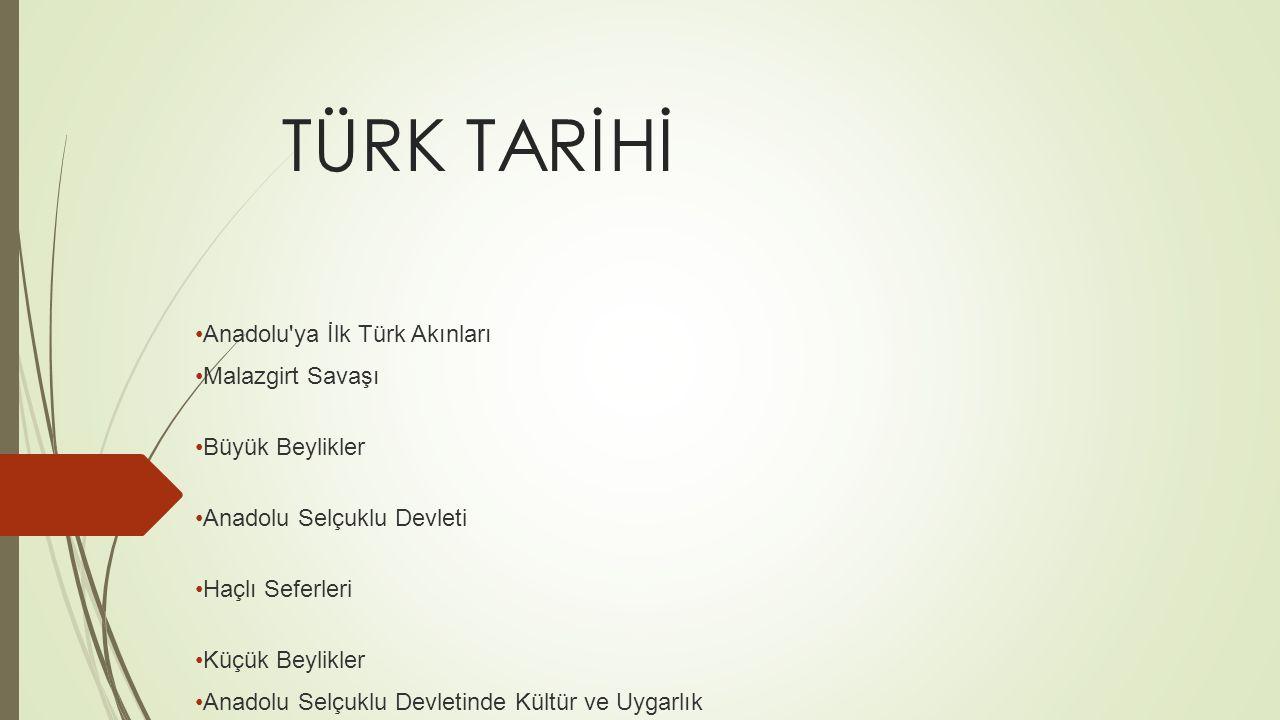 TÜRK TARİHİ Anadolu ya İlk Türk Akınları Malazgirt Savaşı
