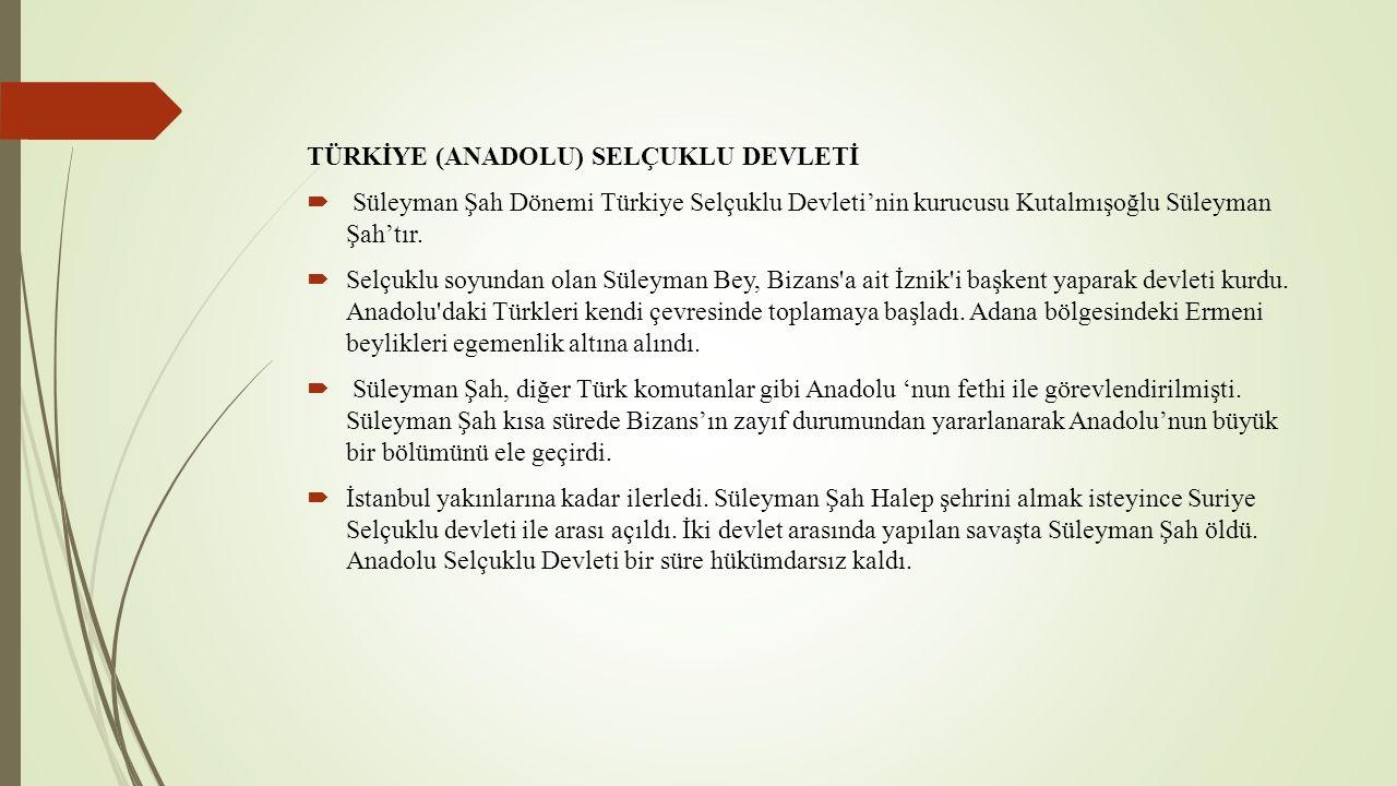 TÜRKİYE (ANADOLU) SELÇUKLU DEVLETİ