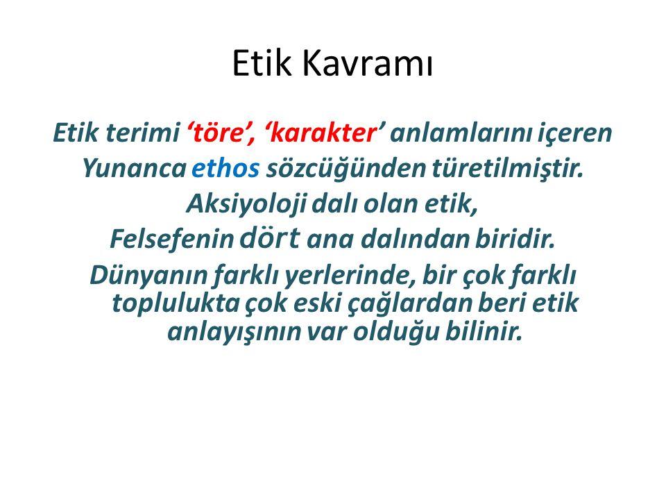 Etik Kavramı Etik terimi 'töre', 'karakter' anlamlarını içeren