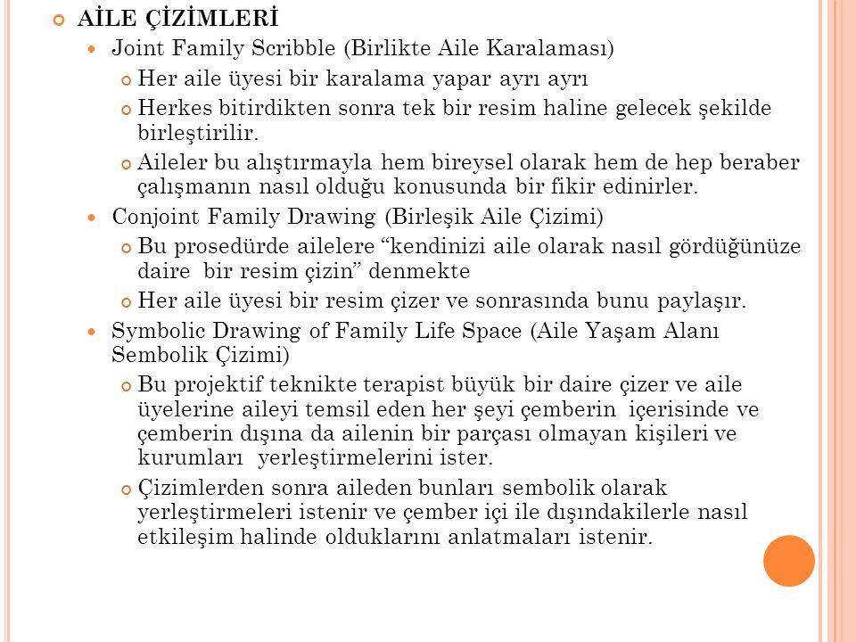AİLE ÇİZİMLERİ Joint Family Scribble (Birlikte Aile Karalaması) Her aile üyesi bir karalama yapar ayrı ayrı.