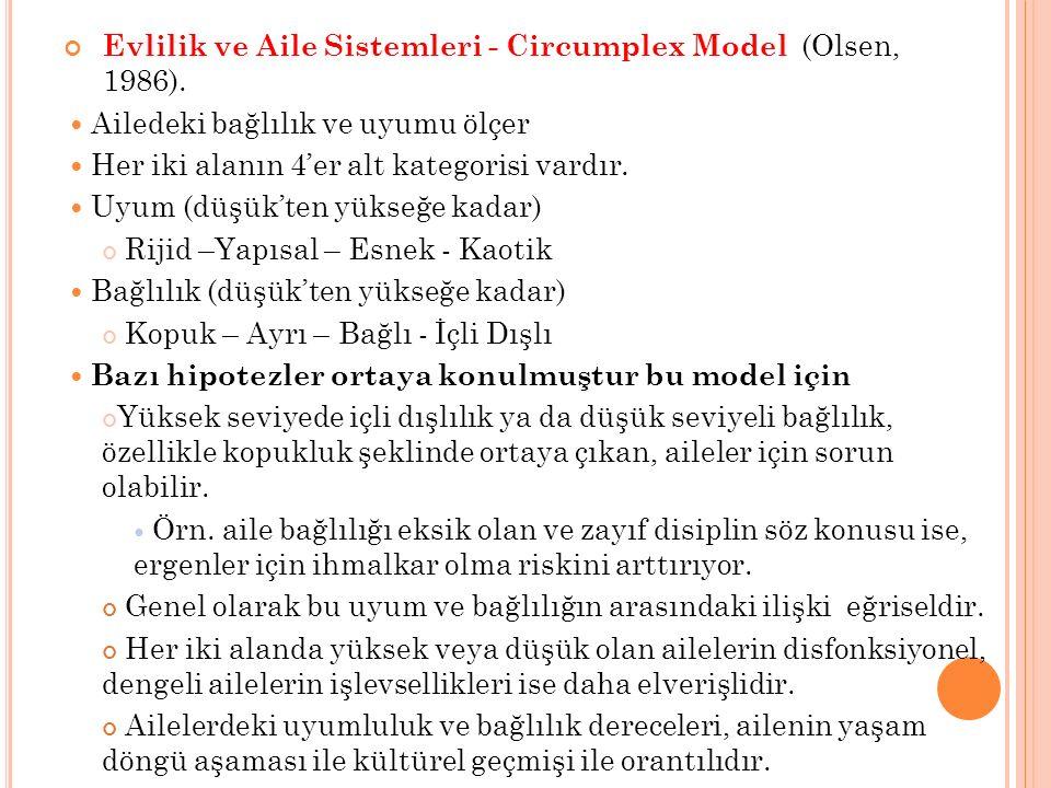 Evlilik ve Aile Sistemleri - Circumplex Model (Olsen, 1986).