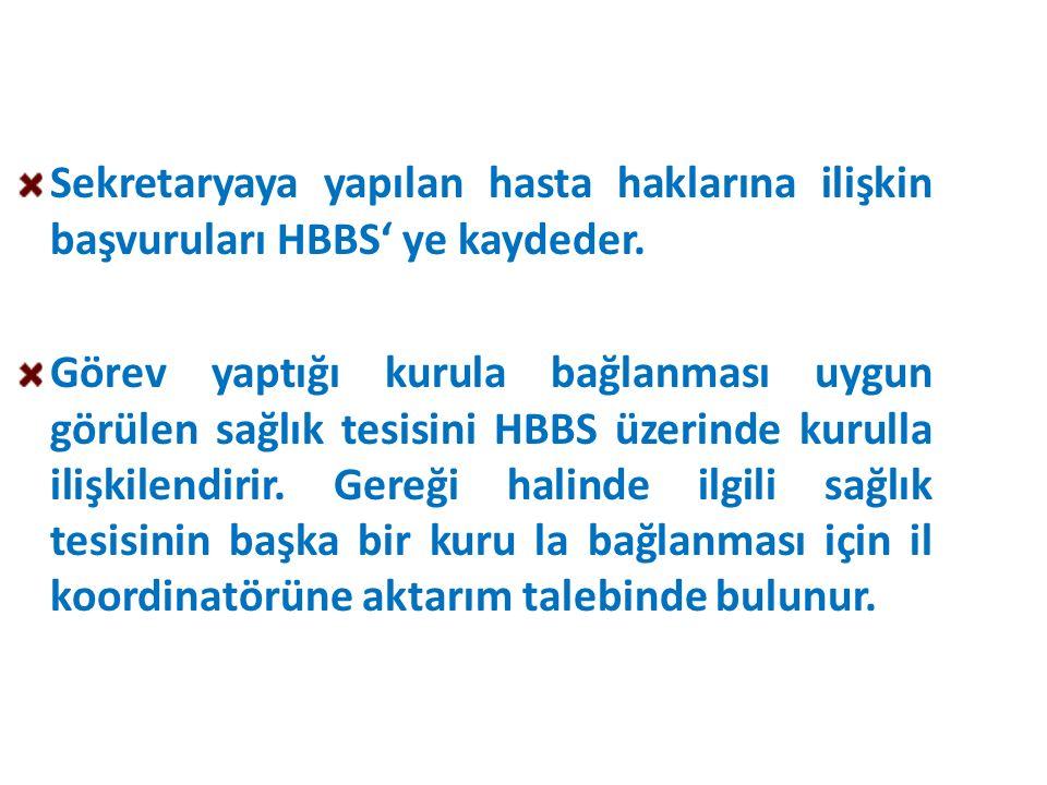 Sekretaryaya yapılan hasta haklarına ilişkin başvuruları HBBS' ye kaydeder.