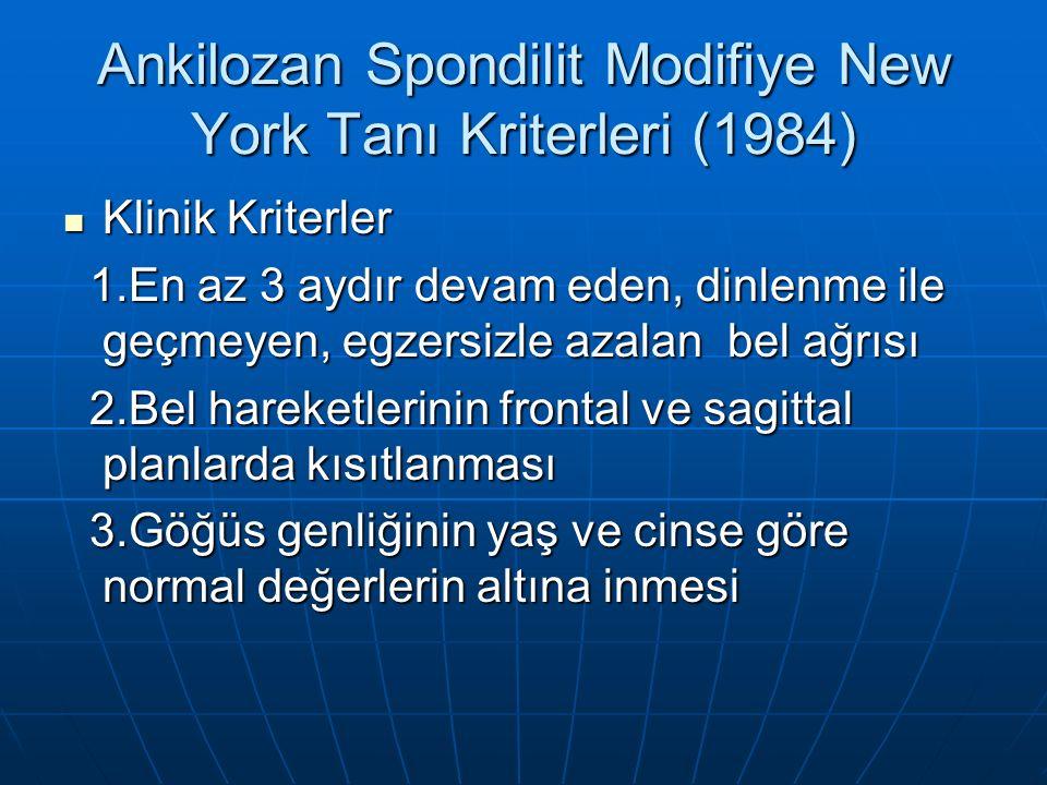 Ankilozan Spondilit Modifiye New York Tanı Kriterleri (1984)