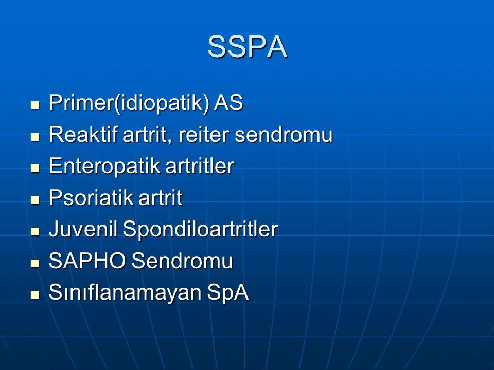 SSPA Primer(idiopatik) AS Reaktif artrit, reiter sendromu