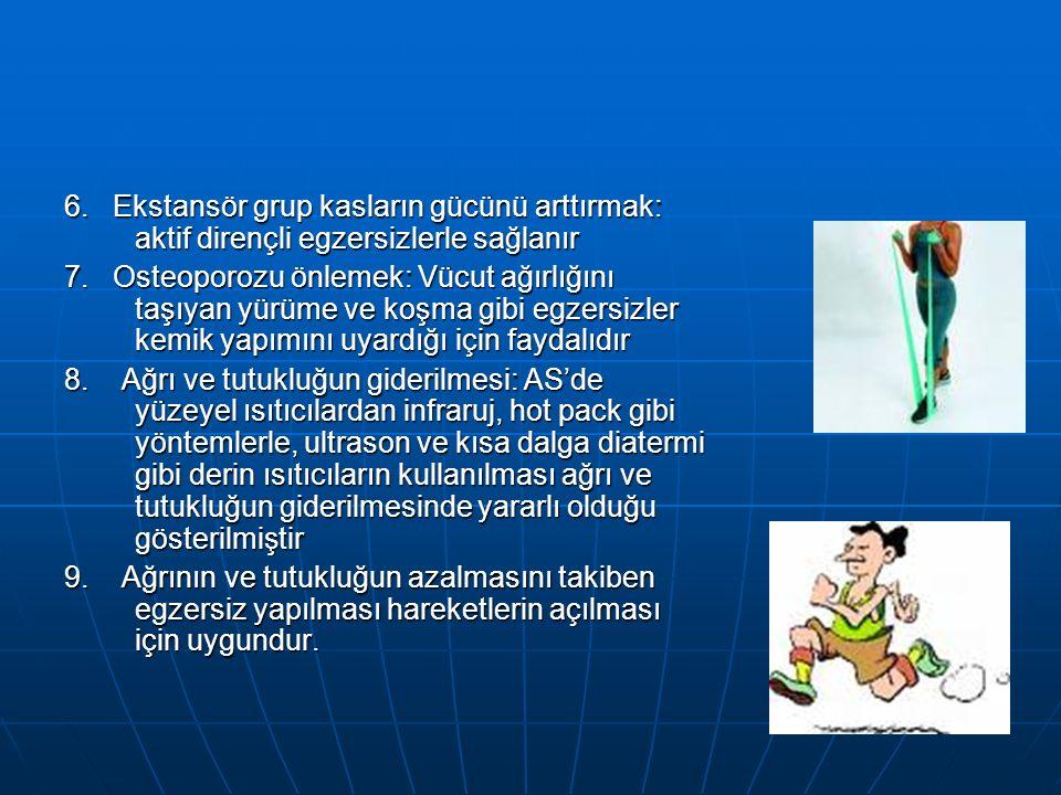 6. Ekstansör grup kasların gücünü arttırmak: aktif dirençli egzersizlerle sağlanır