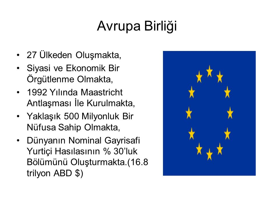 Avrupa Birliği 27 Ülkeden Oluşmakta,