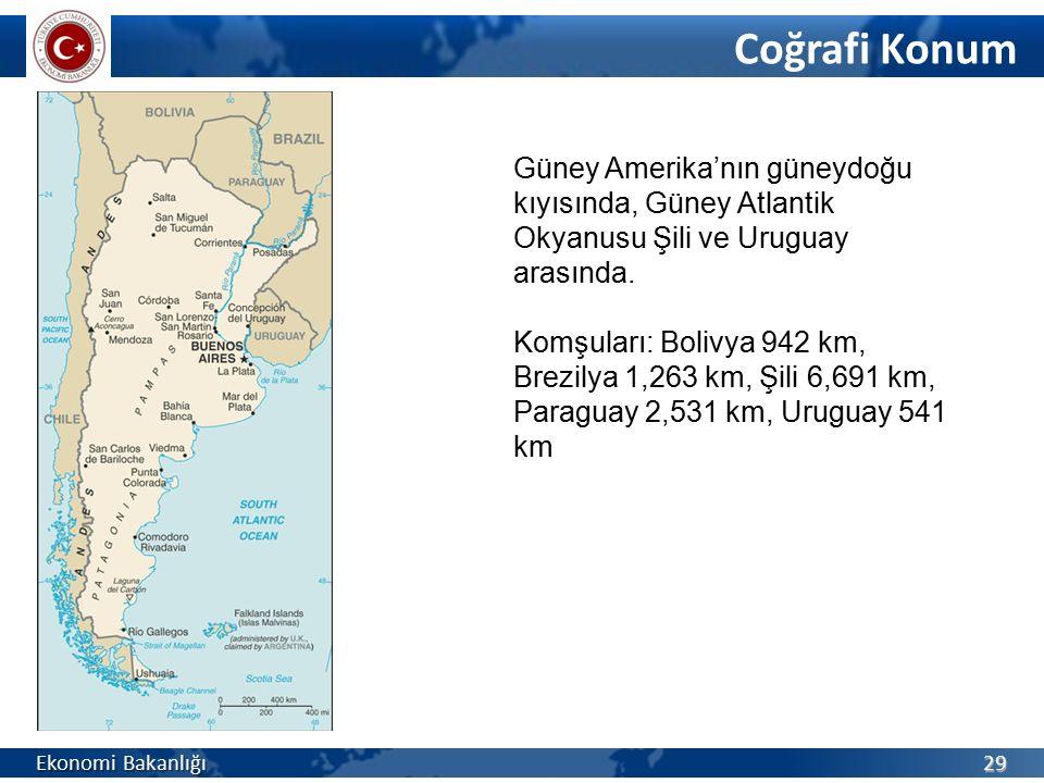 Coğrafi Konum Güney Amerika'nın güneydoğu kıyısında, Güney Atlantik Okyanusu Şili ve Uruguay arasında.