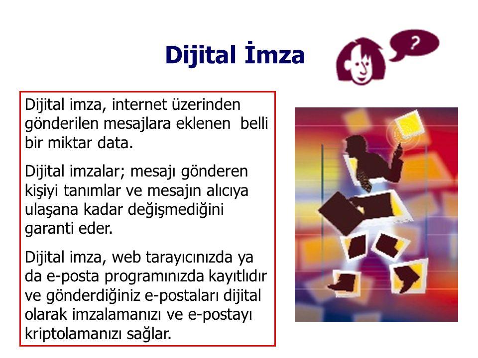 Dijital İmza Dijital imza, internet üzerinden gönderilen mesajlara eklenen belli bir miktar data.