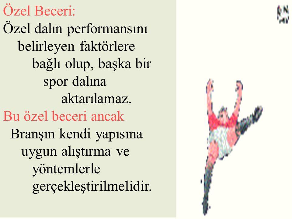 Özel Beceri: Özel dalın performansını. belirleyen faktörlere bağlı olup, başka bir spor dalına.