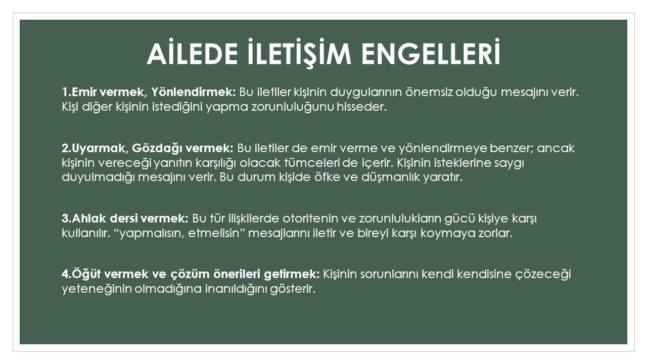 AİLEDE İLETİŞİM ENGELLERİ