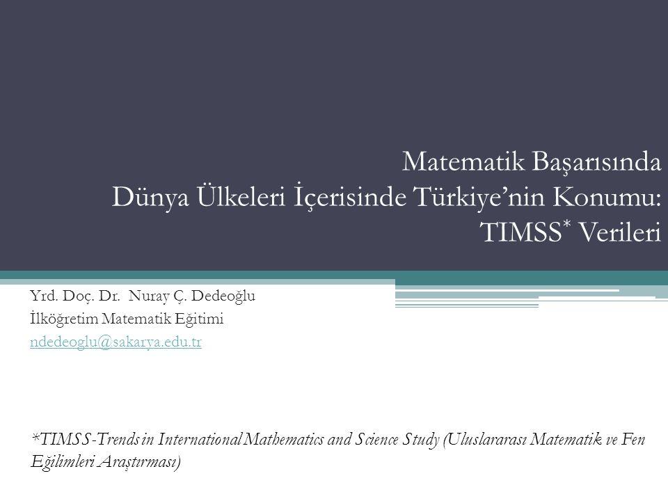 Matematik Başarısında Dünya Ülkeleri İçerisinde Türkiye'nin Konumu: TIMSS* Verileri