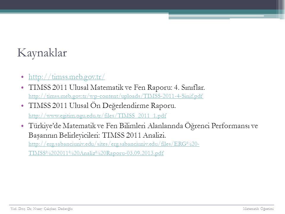 Kaynaklar http://timss.meb.gov.tr/