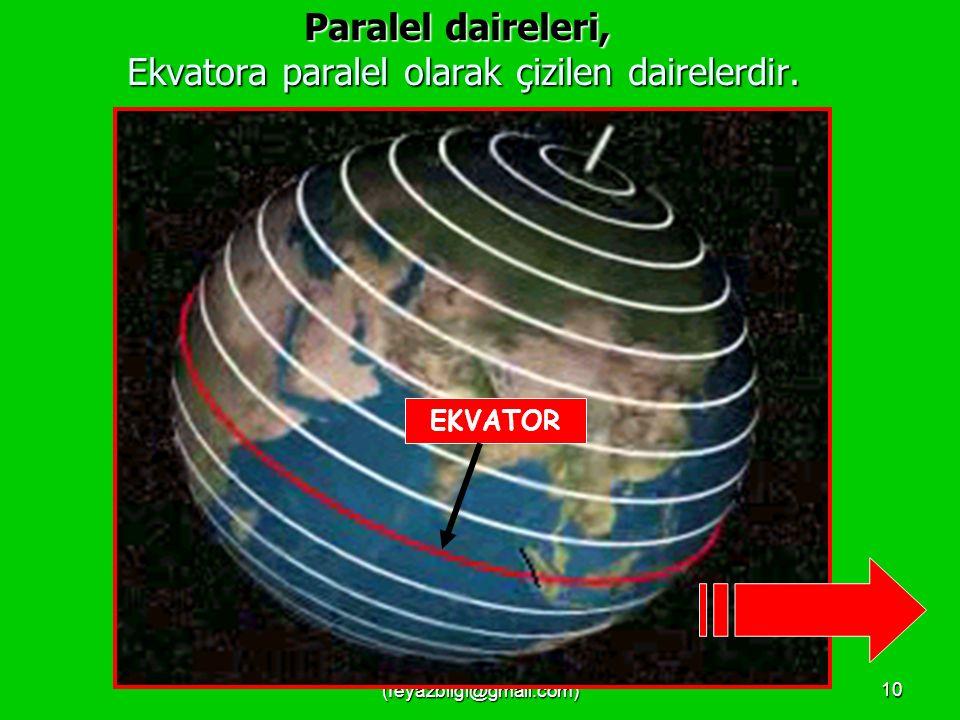 Paralel daireleri, Ekvatora paralel olarak çizilen dairelerdir.