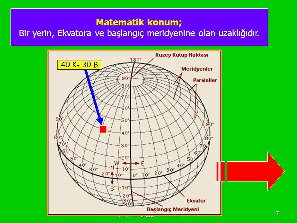 Bir yerin, Ekvatora ve başlangıç meridyenine olan uzaklığıdır.