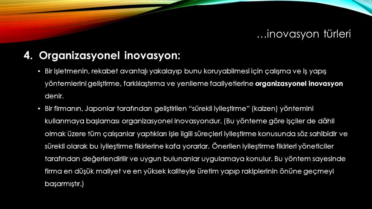 4. Organizasyonel inovasyon: