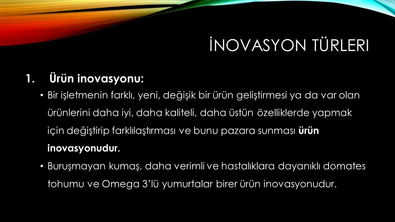 İnovasyon Türleri Ürün inovasyonu: