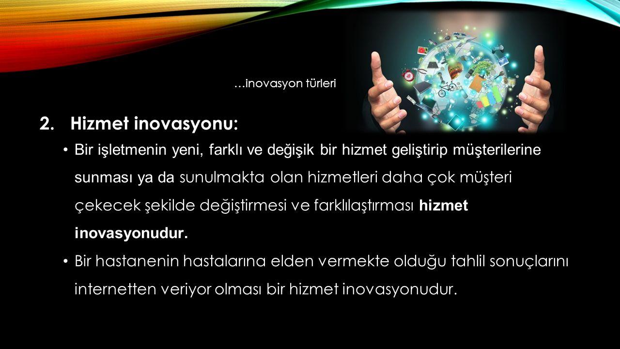 …inovasyon türleri 2. Hizmet inovasyonu: