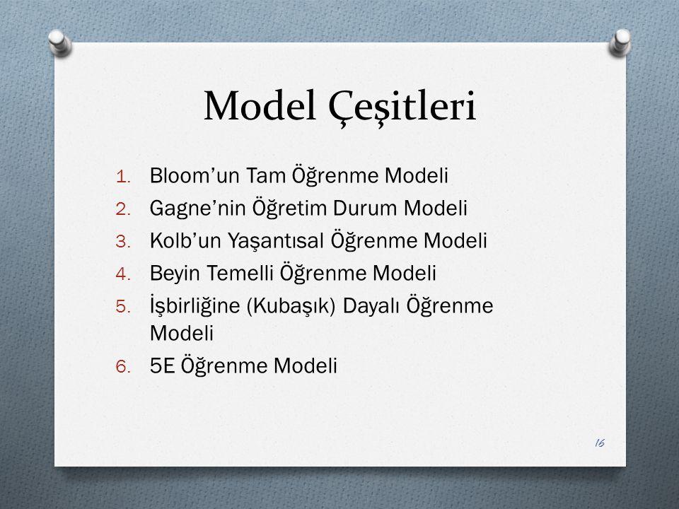 Model Çeşitleri Bloom'un Tam Öğrenme Modeli