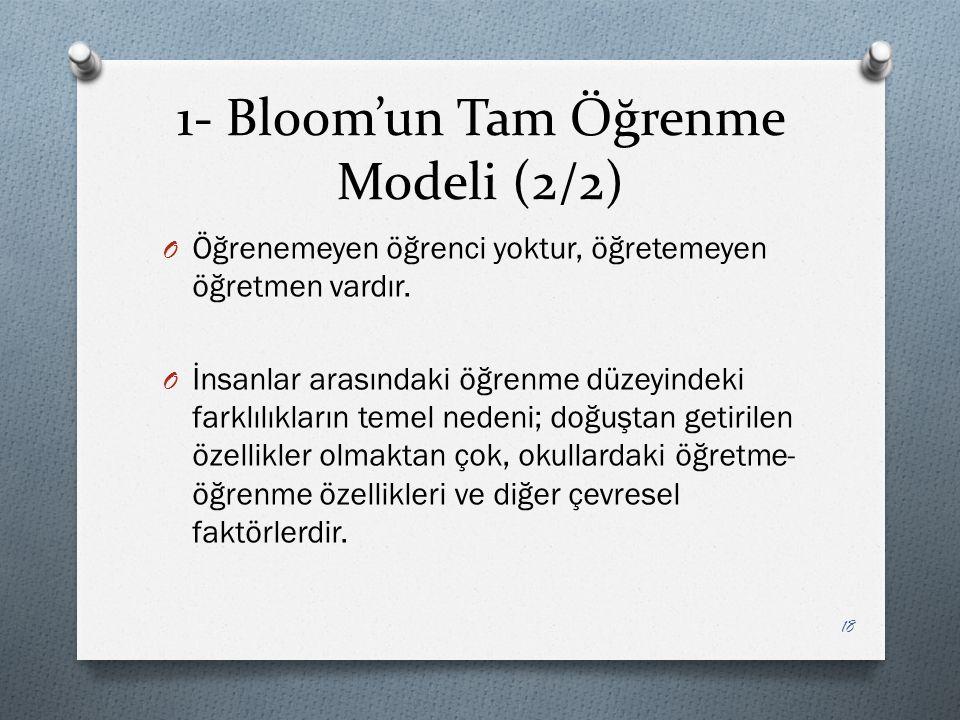 1- Bloom'un Tam Öğrenme Modeli (2/2)