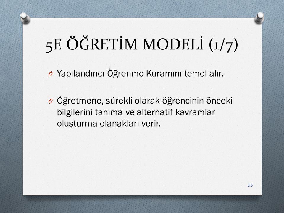 5E ÖĞRETİM MODELİ (1/7) Yapılandırıcı Öğrenme Kuramını temel alır.