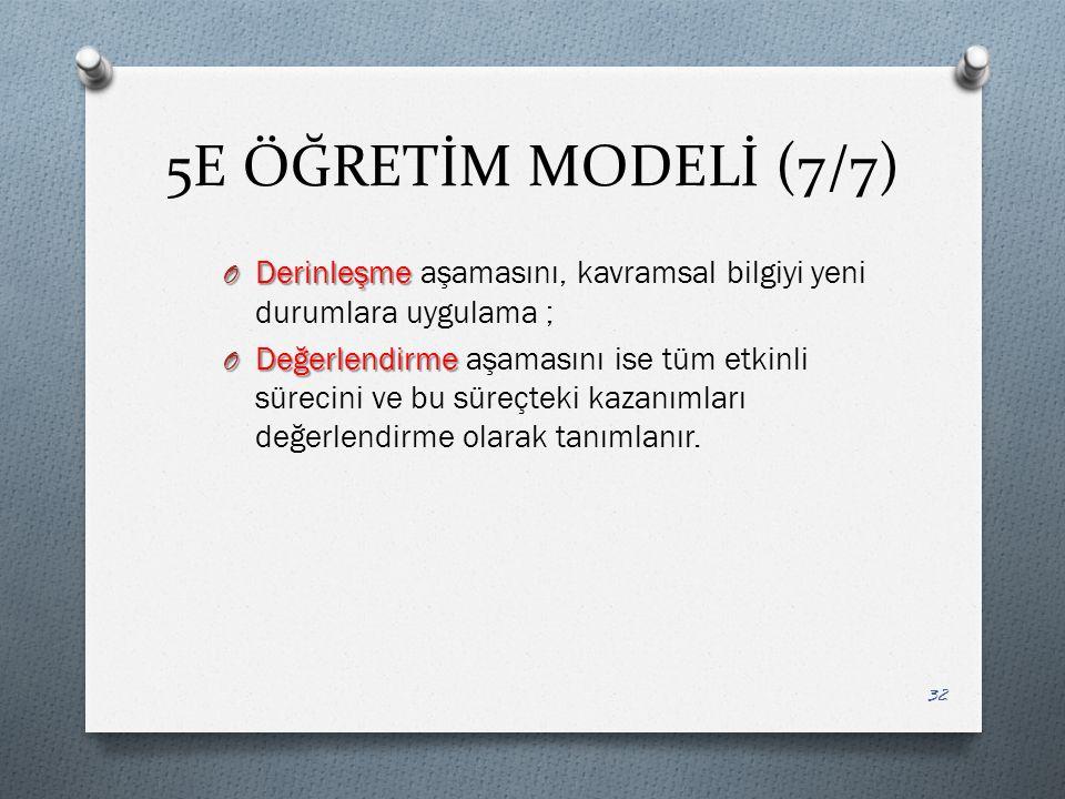 5E ÖĞRETİM MODELİ (7/7) Derinleşme aşamasını, kavramsal bilgiyi yeni durumlara uygulama ;