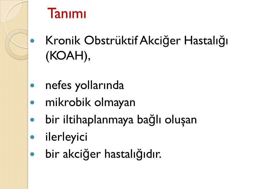 Tanımı Kronik Obstrüktif Akciğer Hastalığı (KOAH), nefes yollarında