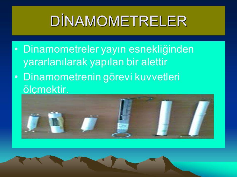 DİNAMOMETRELER Dinamometreler yayın esnekliğinden yararlanılarak yapılan bir alettir.