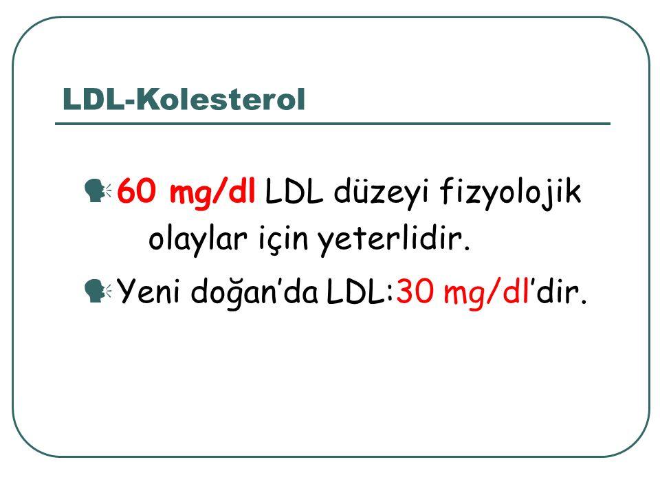 60 mg/dl LDL düzeyi fizyolojik olaylar için yeterlidir.