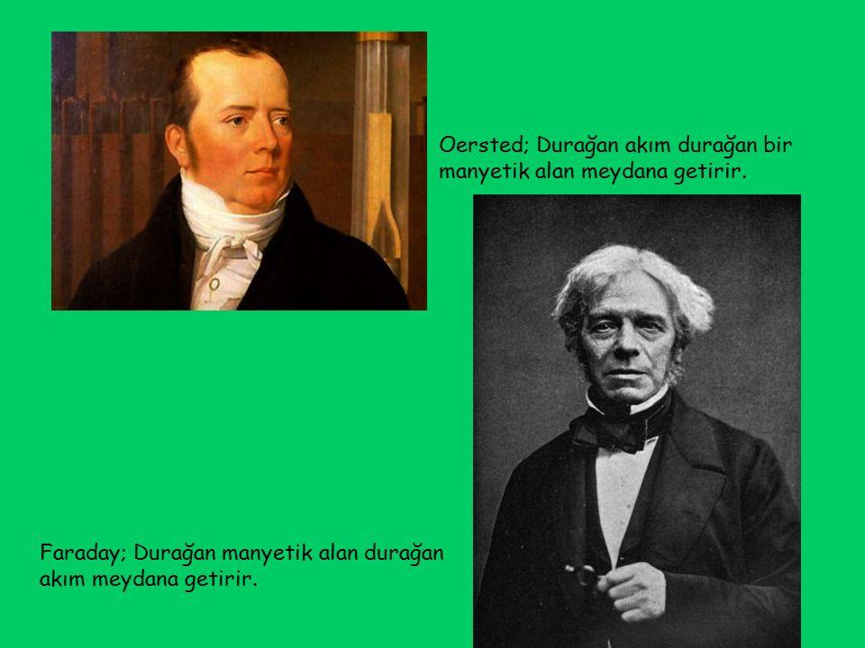 Oersted; Durağan akım durağan bir manyetik alan meydana getirir.