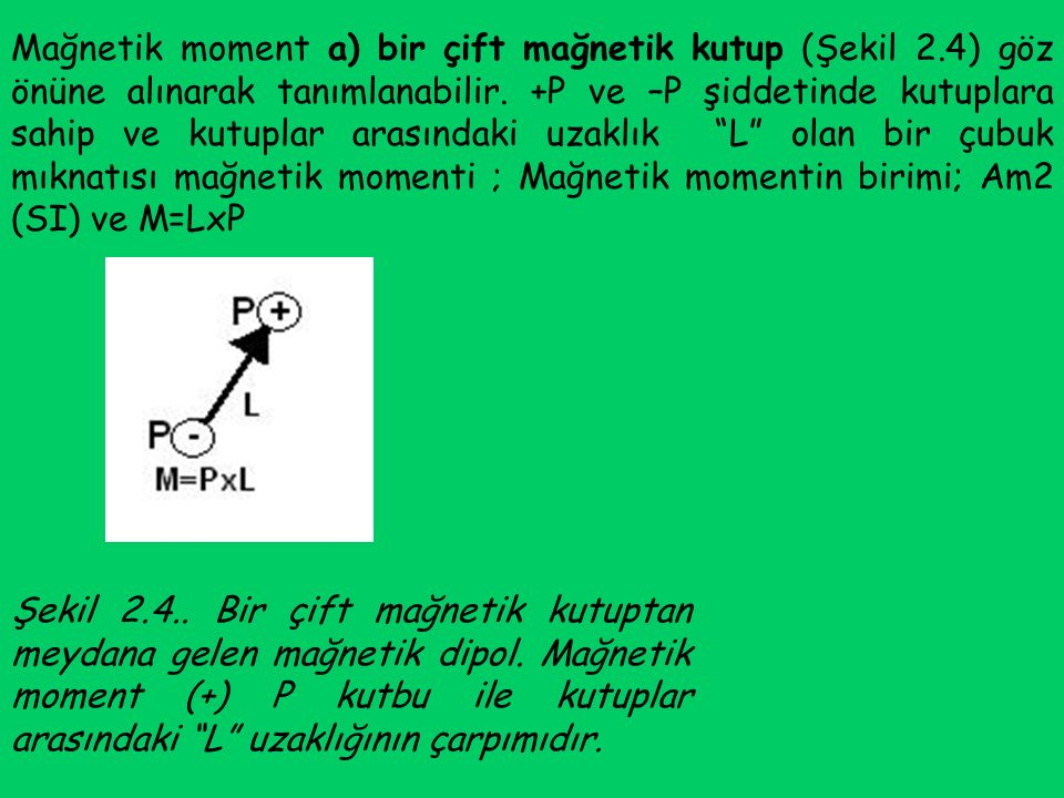 Mağnetik moment a) bir çift mağnetik kutup (Şekil 2