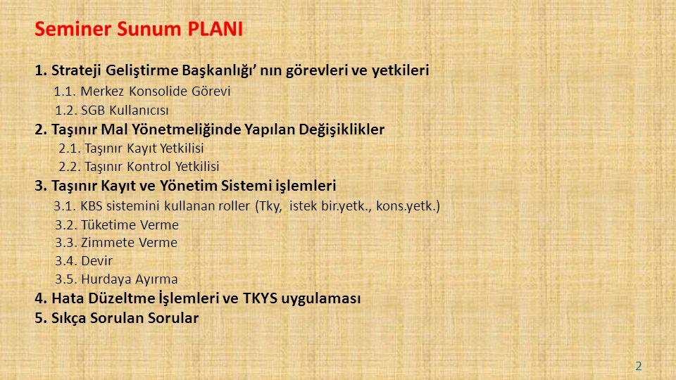 Seminer Sunum PLANI 1. Strateji Geliştirme Başkanlığı' nın görevleri ve yetkileri 1.1.