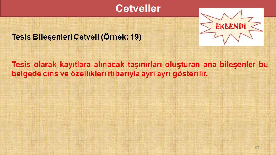Cetveller Tesis Bileşenleri Cetveli (Örnek: 19)