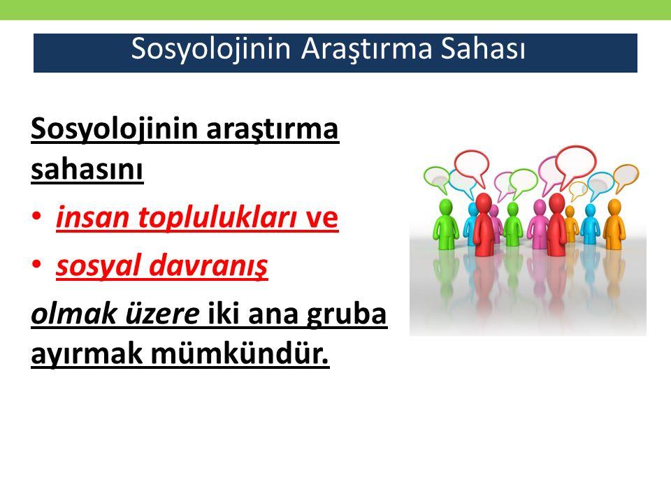 Sosyolojinin Araştırma Sahası