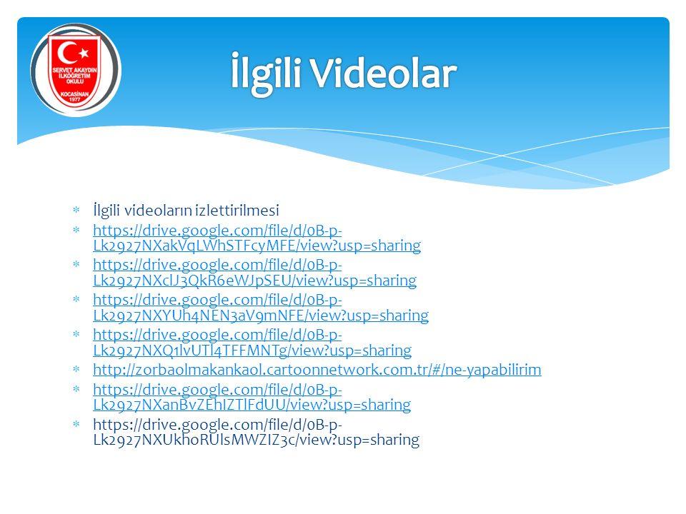 İlgili Videolar İlgili videoların izlettirilmesi